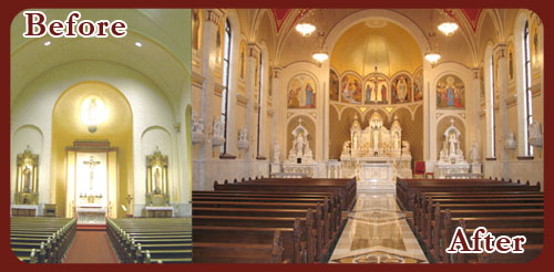 Custom Church Interiors and Exteriors Before and After Photo