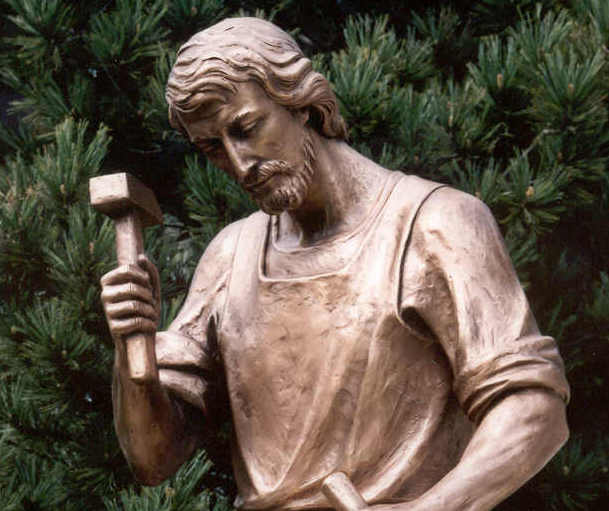"""The humble craftsman of Nazareth"": St. Joseph the Worker bronze statue"