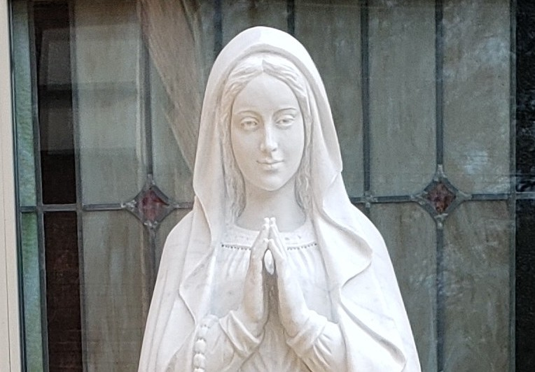 Custom marble statue of Our Lady of Lourdes