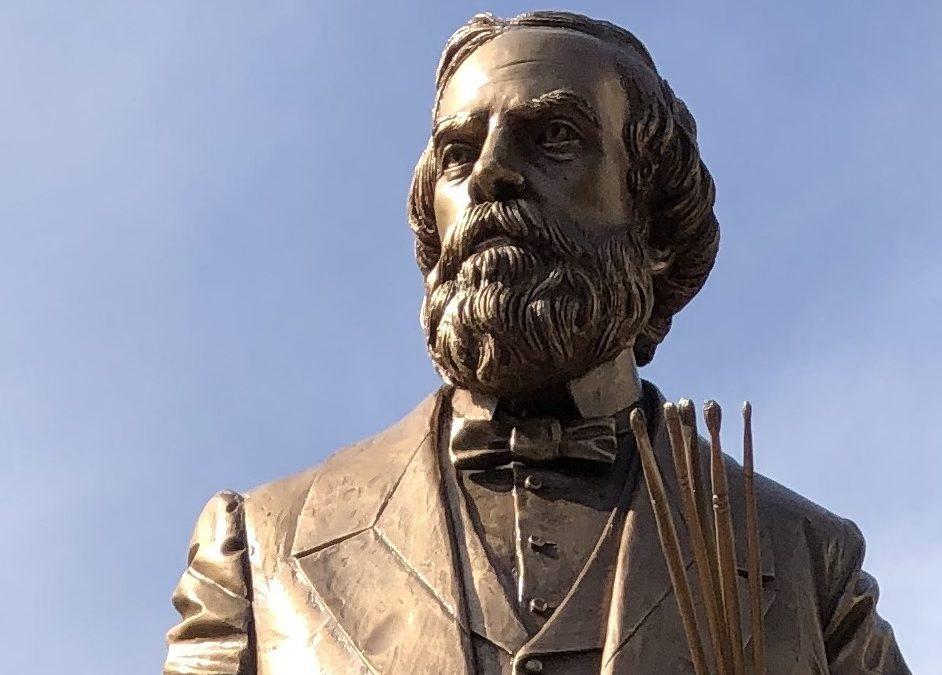 Original bronze statue of Greek-Italian-American artist Constantino Brumidi
