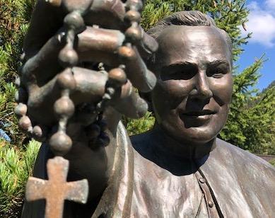 "Original bronze statue of Fr. Peyton, ""the Rosary Priest"""